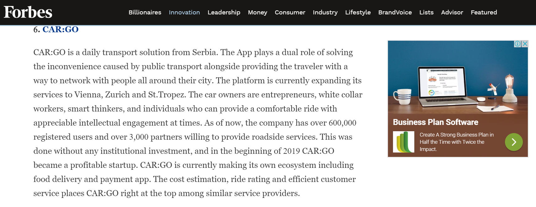 Forbes ranks ride-sharing Car:Go in the top 10 disruptive